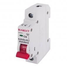 Модульний автоматичний вимикач E-NEXT e.mcb.stand.45.1.C6, 1р, 6А, С, 4,5 кА