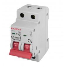 Модульний Автоматичний вимикач E-NEXT e. mcb.stand.45.2.C32, 2Р, 32А, C, 4,5 кА