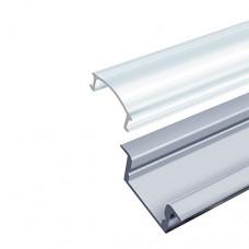 Профіль алюмінієвий врізний неанодований з прозорим розсіювачем BIOM ПВ7НА + LC-U ( набір 1м)