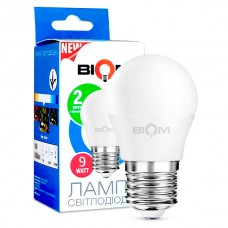 Светодиодная лампа BIOM 9W E27 4500K G45 (Шар) BT-584