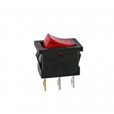 Кнопка АВаТар квадратна 3 контакти маленька червона з підсвічуванням 6А(при 220В)
