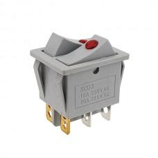 Кнопка АВаТар 2-я 6 контактів сіра термостійка з підсвічуванням 15А(при 220В)