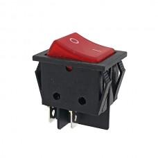 Кнопка АВаТар широка 1-а 4 контакти червона з підсвічуванням 25А(при 220В)