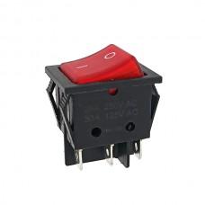 Кнопка АВаТар широка 1-я 6 контактів червона з підсвічуванням 25А(при 220В)