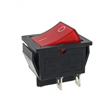 Кнопка АВаТар широка 1-я 4 контакту червона з підсвічуванням 15А(при 220В)