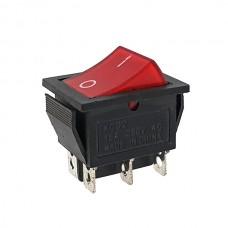 Кнопка АВаТар широка 1-а 6 контактів червона з підсвічуванням 15А(при 220В)