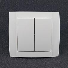 Вимикач подвійний внутрішній Yaweitai YW-2504 Білий