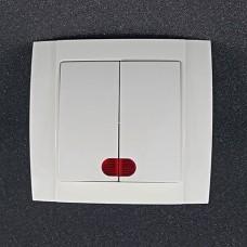 Вимикач подвійний внутрішній з підсвічуванням Yaweitai YW-2502 Білий