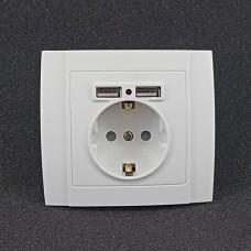 Розетка одинарна внутрішня + 2 USB Yaweitai YW-2506 Біла