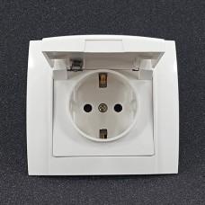 Розетка одинарна внутрішня з заземленням з кришкою Yaweitai YW-2516 Біла