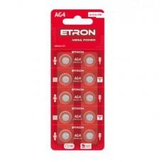 Батарейка ETRON Mega Power AG-4-LR626 Blister 10 шт