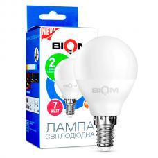 Світлодіодна лампа BIOM 7W E14 3000K G45 (Куля) BT-565