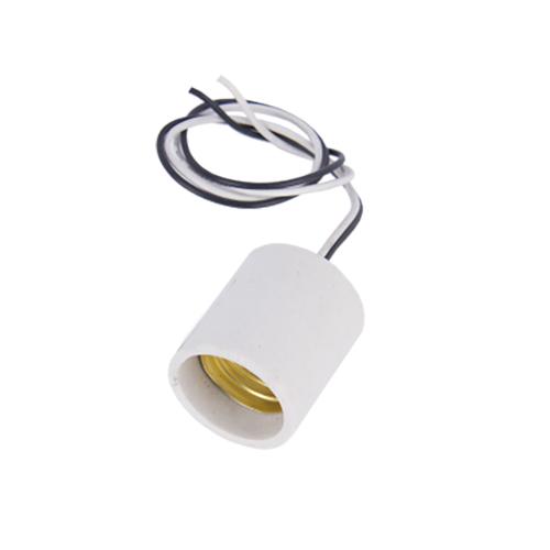 Патрон ABaTap Е27 Белый прямой керамика с проводом